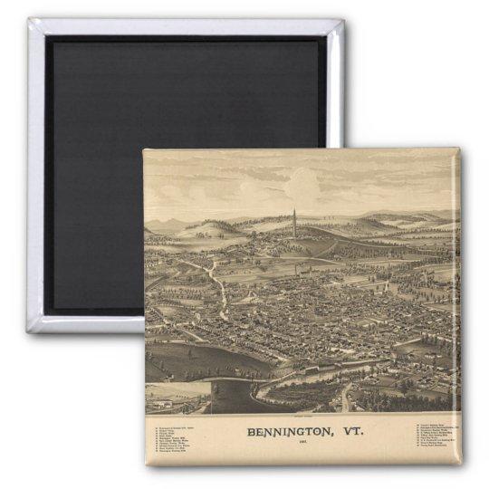 Historical Bennington, Vermont Vintage Map Square Magnet
