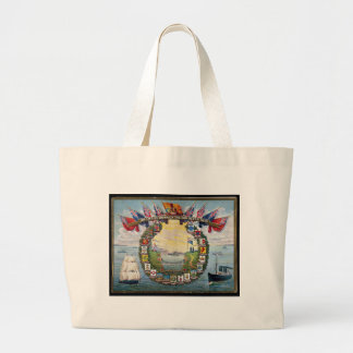 Historical British Colonies Crests Nautical Large Tote Bag