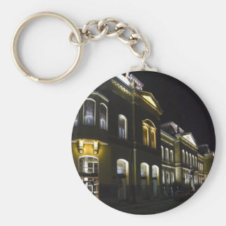 historical building basic round button key ring