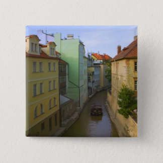 Historical buildings with canal, Prague, Czech 15 Cm Square Badge