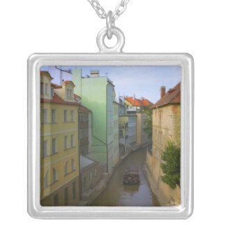 Historical buildings with canal, Prague, Czech Silver Plated Necklace
