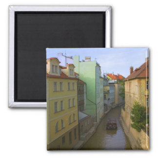 Historical buildings with canal, Prague, Czech Square Magnet