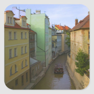 Historical buildings with canal, Prague, Czech Square Sticker