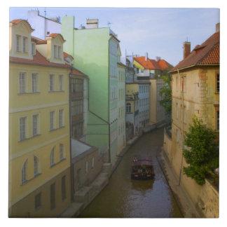 Historical buildings with canal, Prague, Czech Tile
