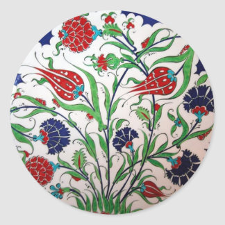 Historical Dianthus and Tulip Pattern - Tile Art Round Sticker
