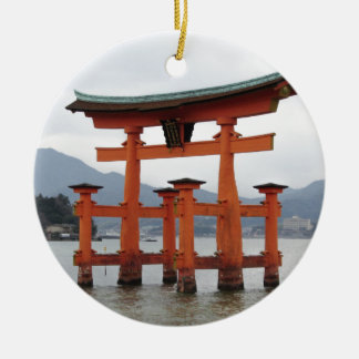 Historical Gate in the Bay of Miyajima, Japan Round Ceramic Decoration