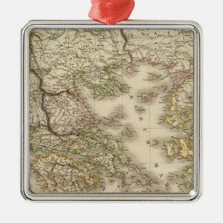 Historical Greece, Paris atlas map Silver-Colored Square Decoration