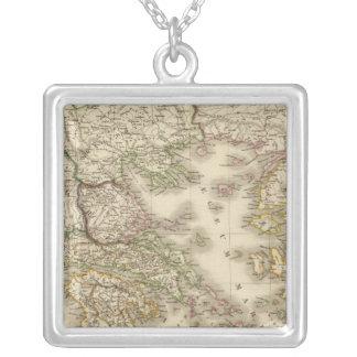Historical Greece, Paris atlas map Silver Plated Necklace