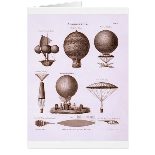 Historical Hot Air Balloon Designs Vintage Image Greeting Card