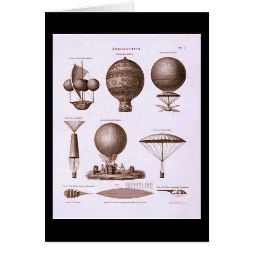 Historical Hot Air Balloon Designs Vintage Image Card
