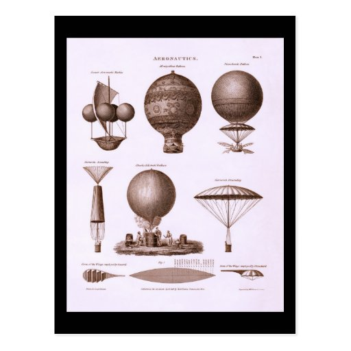 Historical Hot Air Balloon Designs Vintage Image Post Card