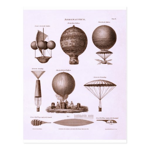 Historical Hot Air Balloon Designs Vintage Image Postcards
