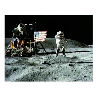 Historical man on the moon postcard