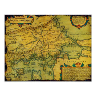 Historical Map of Ancient Thrace from 1585 Posters
