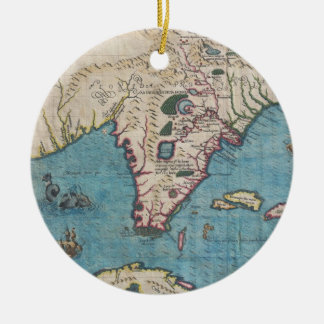 Historical Map of Florida (1591) Christmas Ornament