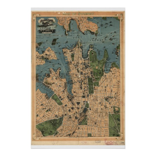 Historical Map of Sydney Australia 1922 Poster