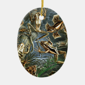 Historical painting of frogs ceramic oval decoration