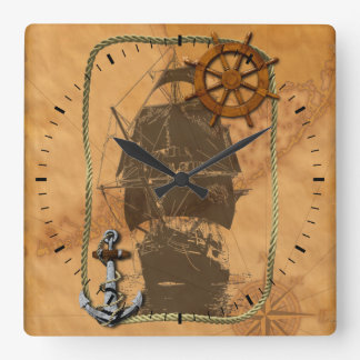 Historical Sailing Ship And Nautical Map Square Wall Clock