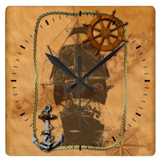 Historical Sailing Ship And Nautical Map Wallclocks