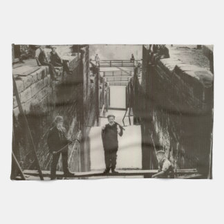 Historical UK Inland Waterways Canal Bingley Locks Tea Towel