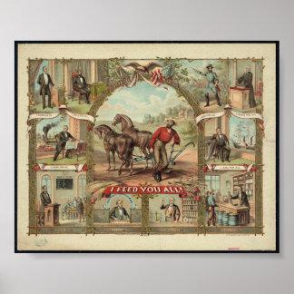 Historical Vintage Presidential 1776-1876 Art Prin Poster