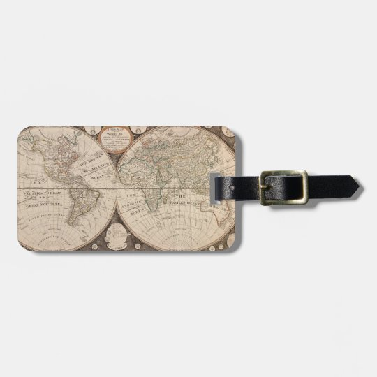 Historical World Map 1799 Luggage Tag