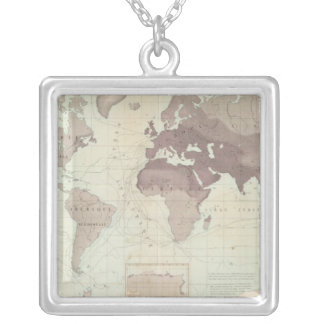 Historical World Map Silver Plated Necklace