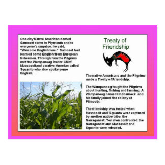 History, American settlers, Treaty of Friendship Postcard