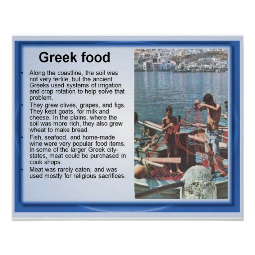 History, ancient Greece, Greek food and fishing Poster