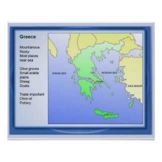 History, ancient Greece, Map Poster