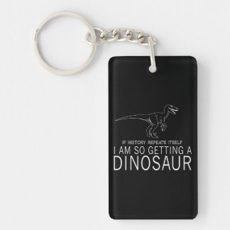History and Dinosaurs Double-Sided Rectangular Acrylic Key Ring