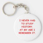 history basic round button key ring