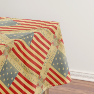 History First American Flag Vintage USA Patriotic Tablecloth
