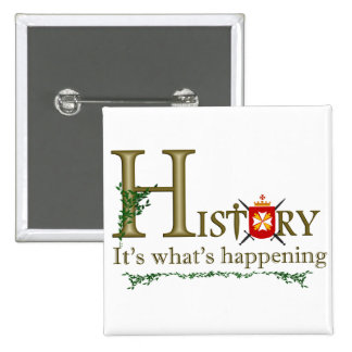 History Its what's happening 15 Cm Square Badge