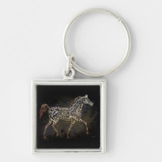 History of the Arabian Horse Gifts & i-Phone Cases Silver-Colored Square Key Ring