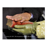 HISTORY: President Obama's Hand on Lincoln Bible Postcard