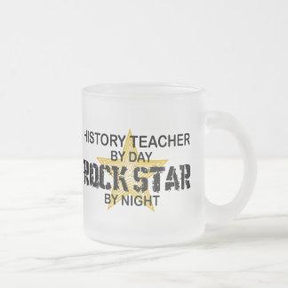 History Teacher Rock Star Frosted Glass Coffee Mug