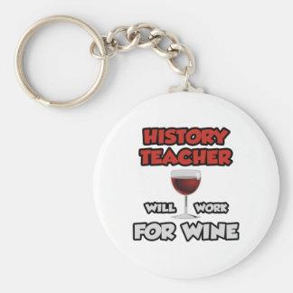 History Teacher ... Will Work For Wine Key Ring