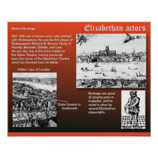 History, Theatre Elizabethan actors Poster
