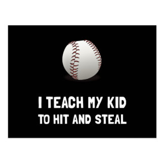 Hit And Steal Baseball Postcard