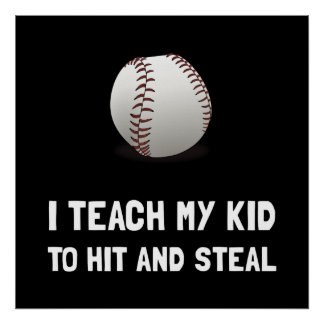 Hit And Steal Baseball Poster