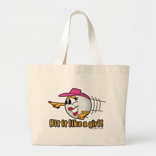 Hit It Like A Girl cartoon golf ball art Canvas Bags