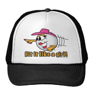 Hit It Like A Girl cartoon golf ball art Cap