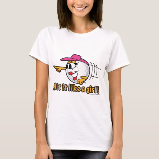 Hit It Like A Girl cartoon golf ball