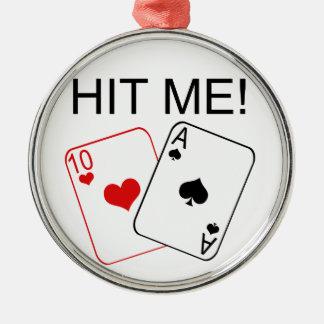 HIT ME! Blackjack Silver-Colored Round Decoration