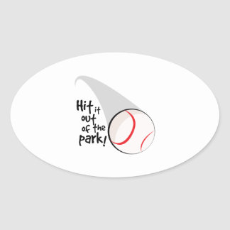 Hit Out Park! Oval Sticker