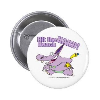 hit the beach hard funny bikini hippo 6 cm round badge