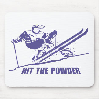Hit The Powder - Snow Skiing Skier Mouse Pads