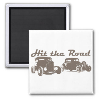 Hit the Road - Hot Rods flat brown Magnet