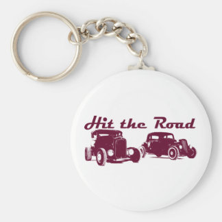 Hit the Road - Hot Rods flat burgundy Basic Round Button Key Ring